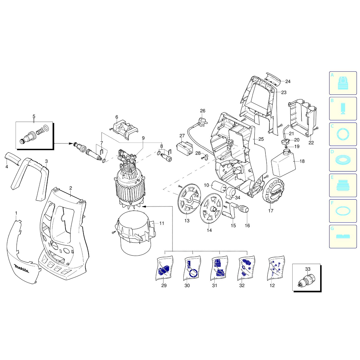 spares for makita hw112 120 bar pressure washer spare hw112 from power tool centre