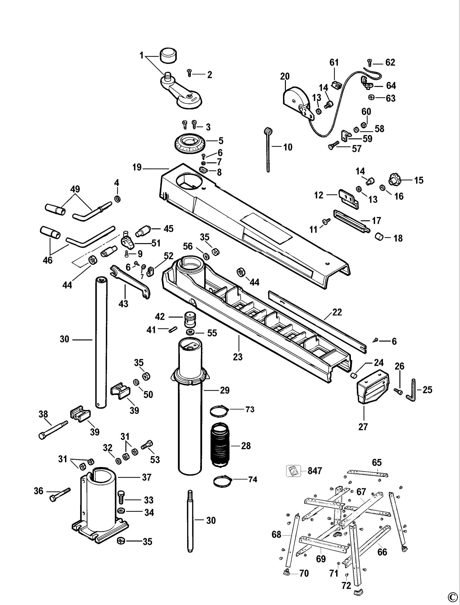 spares for dewalt dw720 radial arm saw  type 1  spare