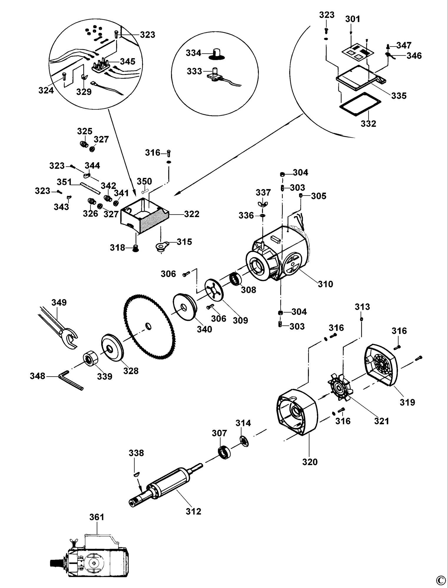 spares for dewalt dw729 radial arm saw  type 1  spare