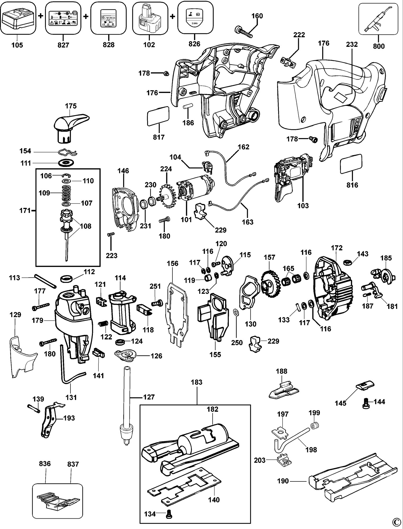 Spares for dewalt dw933 cordless jigsaw type 1 sparedw933 click for bigger diagram greentooth Image collections