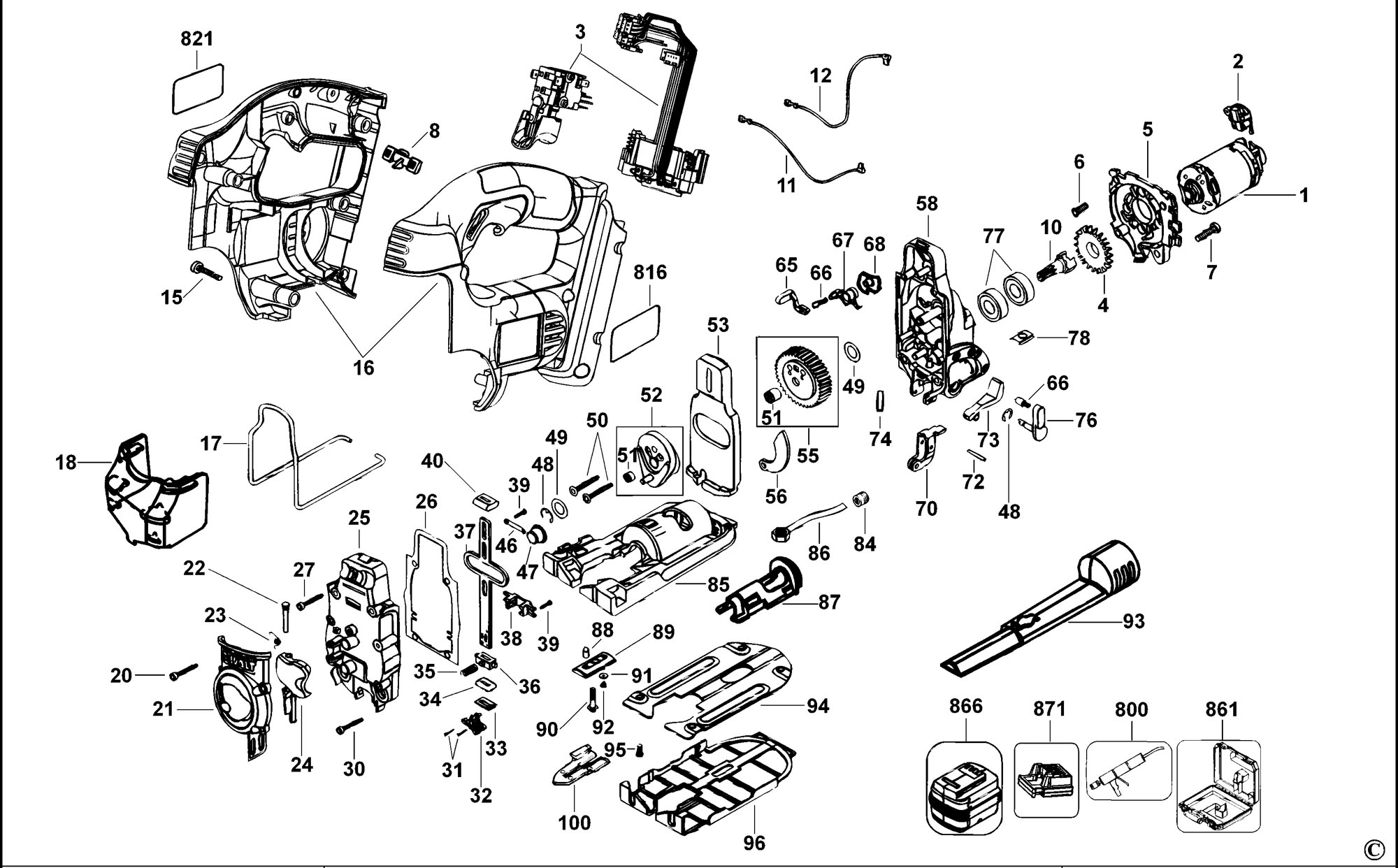spares for dewalt dc308k cordless jigsaw (type 1) spare ... de walt power tool wiring diagrams