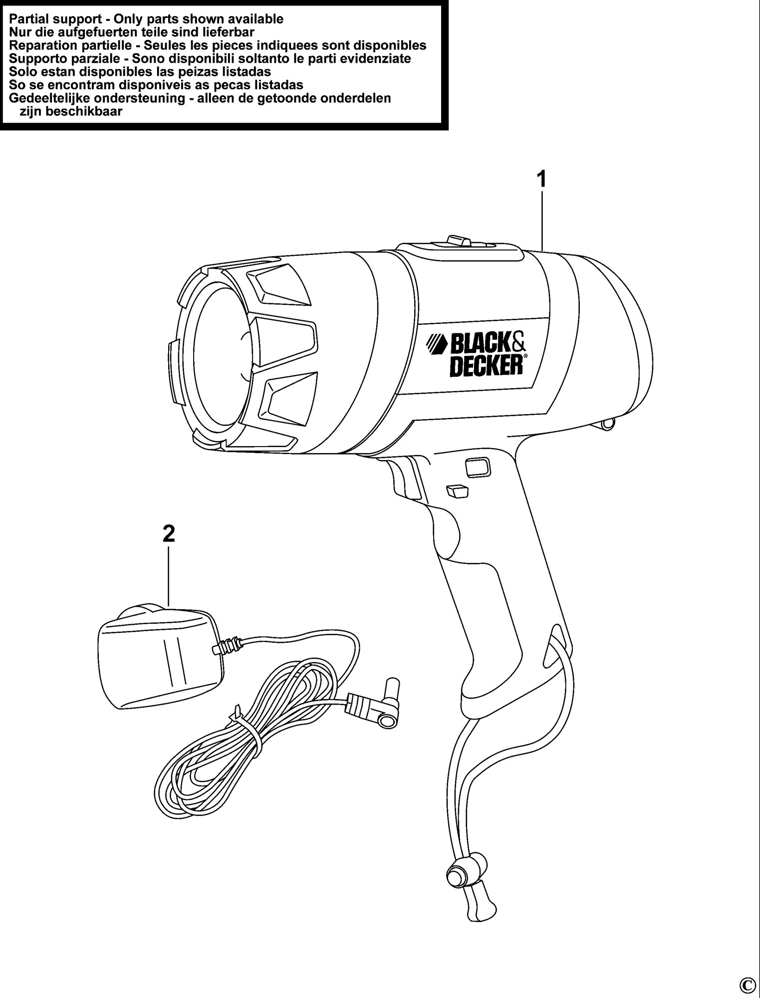 spares for black  u0026 decker bdsl411 torch  type 1  spare