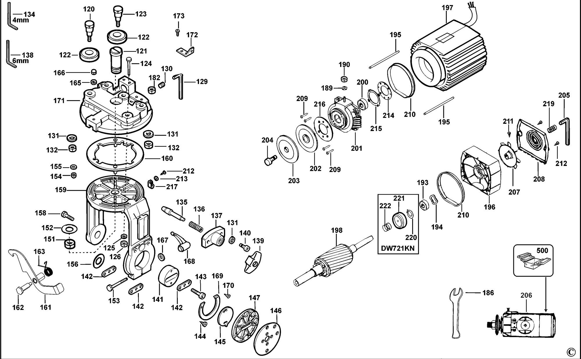 spares for dewalt dw721kn radial arm saw  type 1  spare De Walt Radial Arm Saw Accessories dewalt 770 radial arm saw parts list
