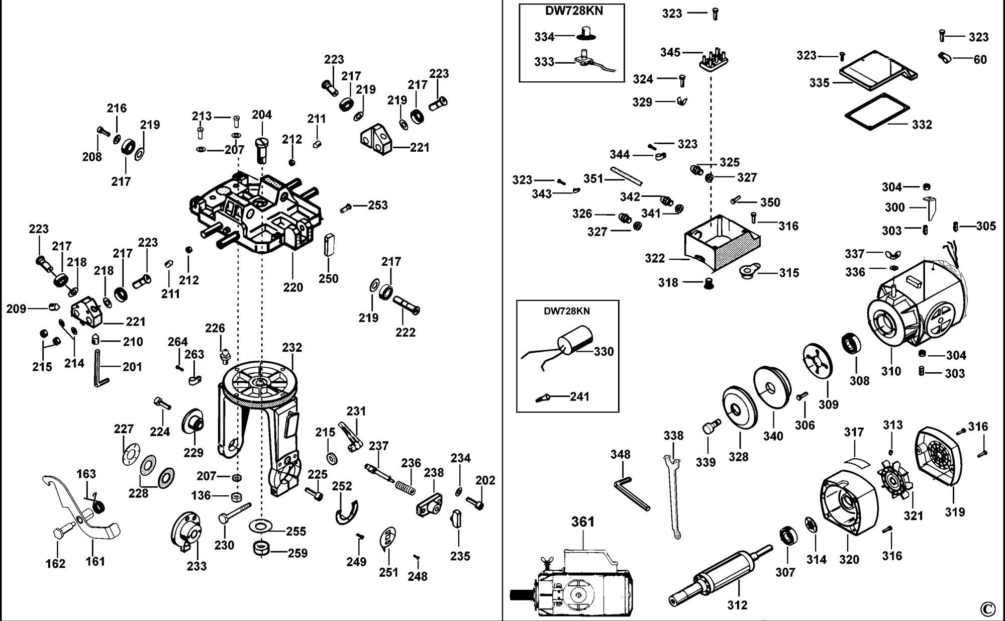 Spares For Dewalt Dw728kn Radial Arm Saw Type 1 Spare