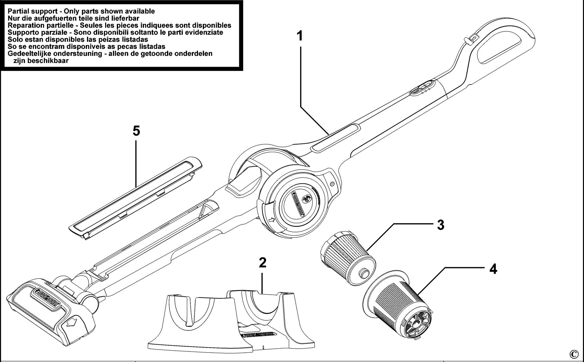 spares for black  u0026 decker fv1205n stick