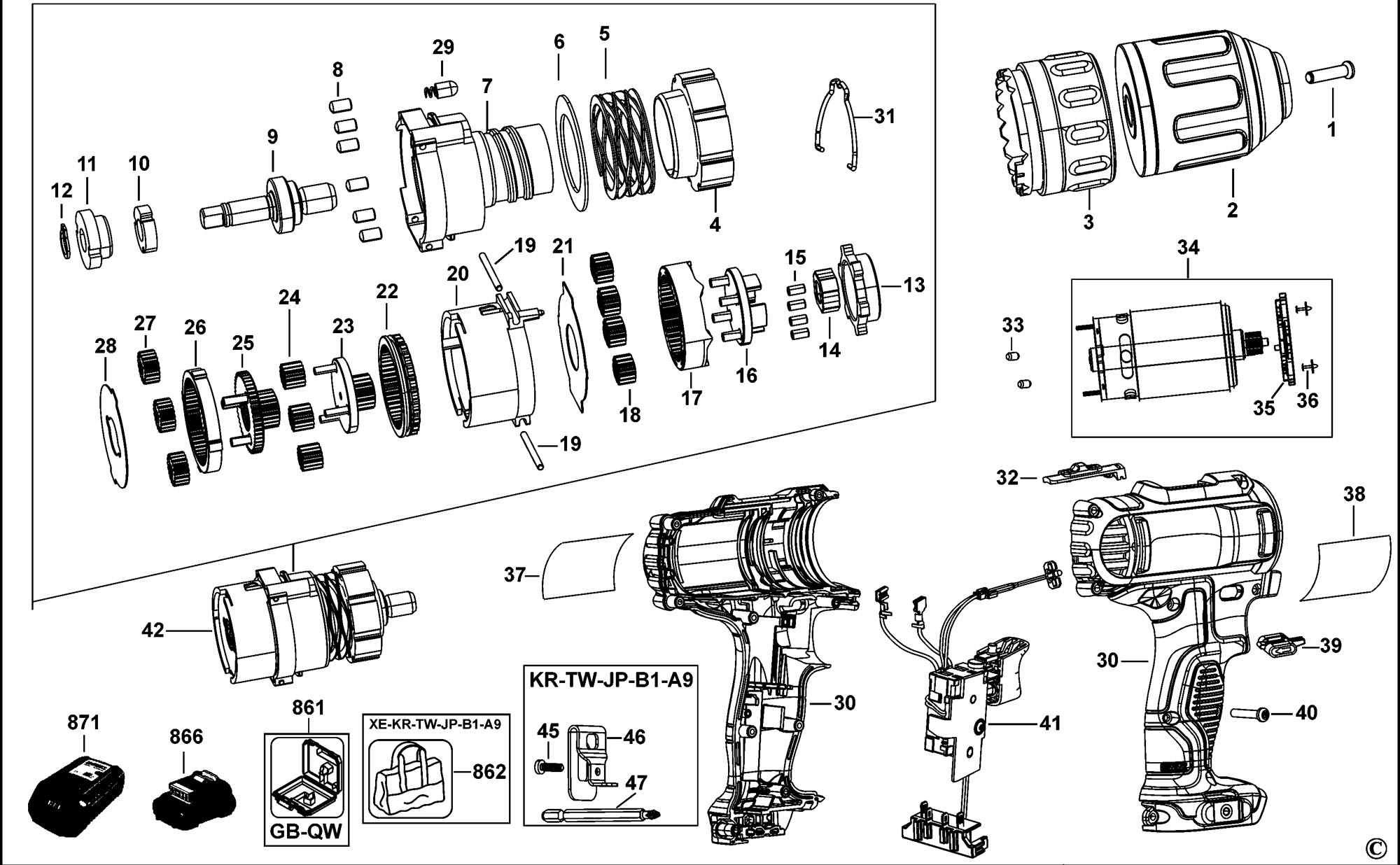 spares for dewalt dcd710 cordless drill (type 1) spare ... de walt power tool wiring diagrams power tool schematics #3