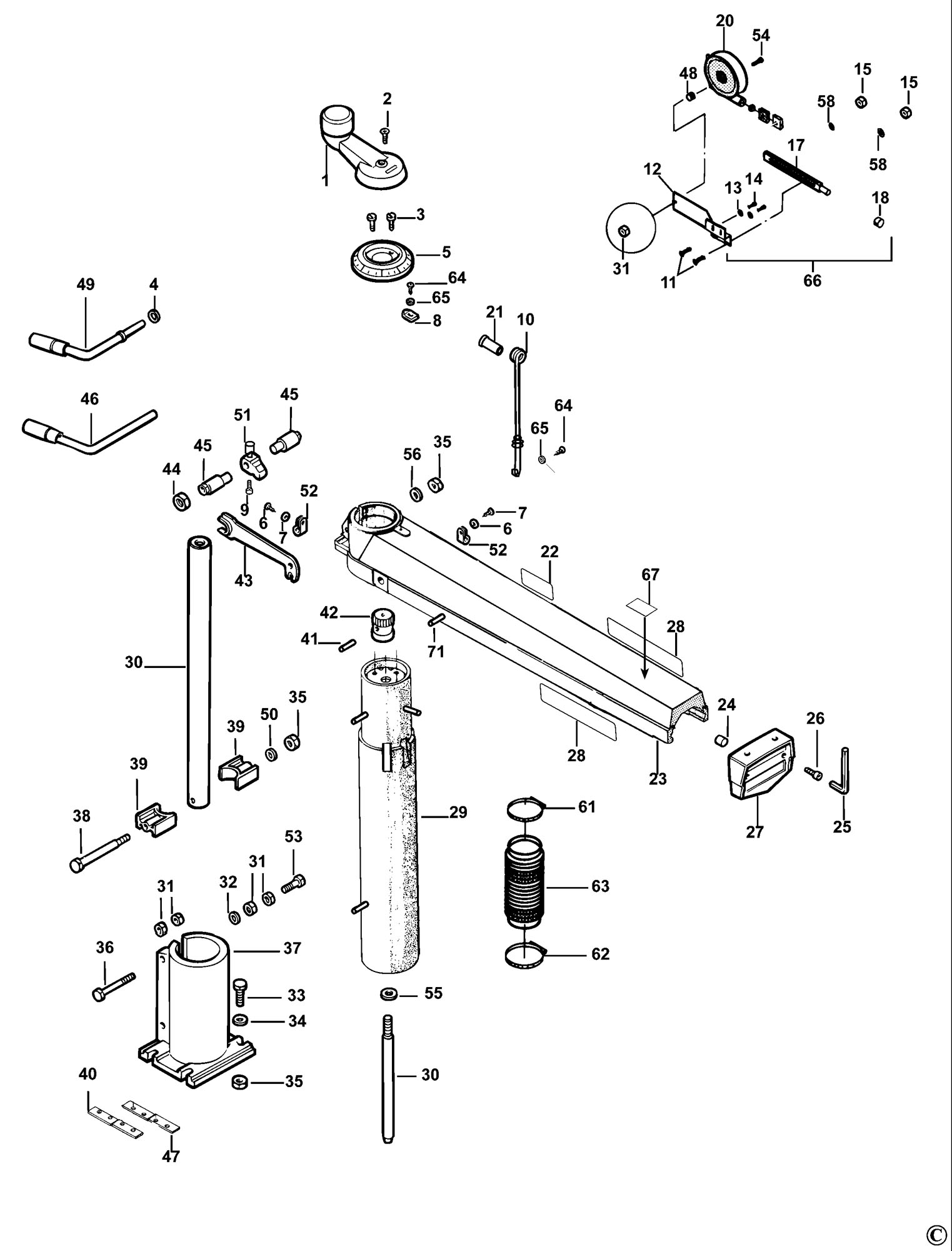band saw parts diagram spares for dewalt dw721kn radial arm saw (type 2) spare ... #8