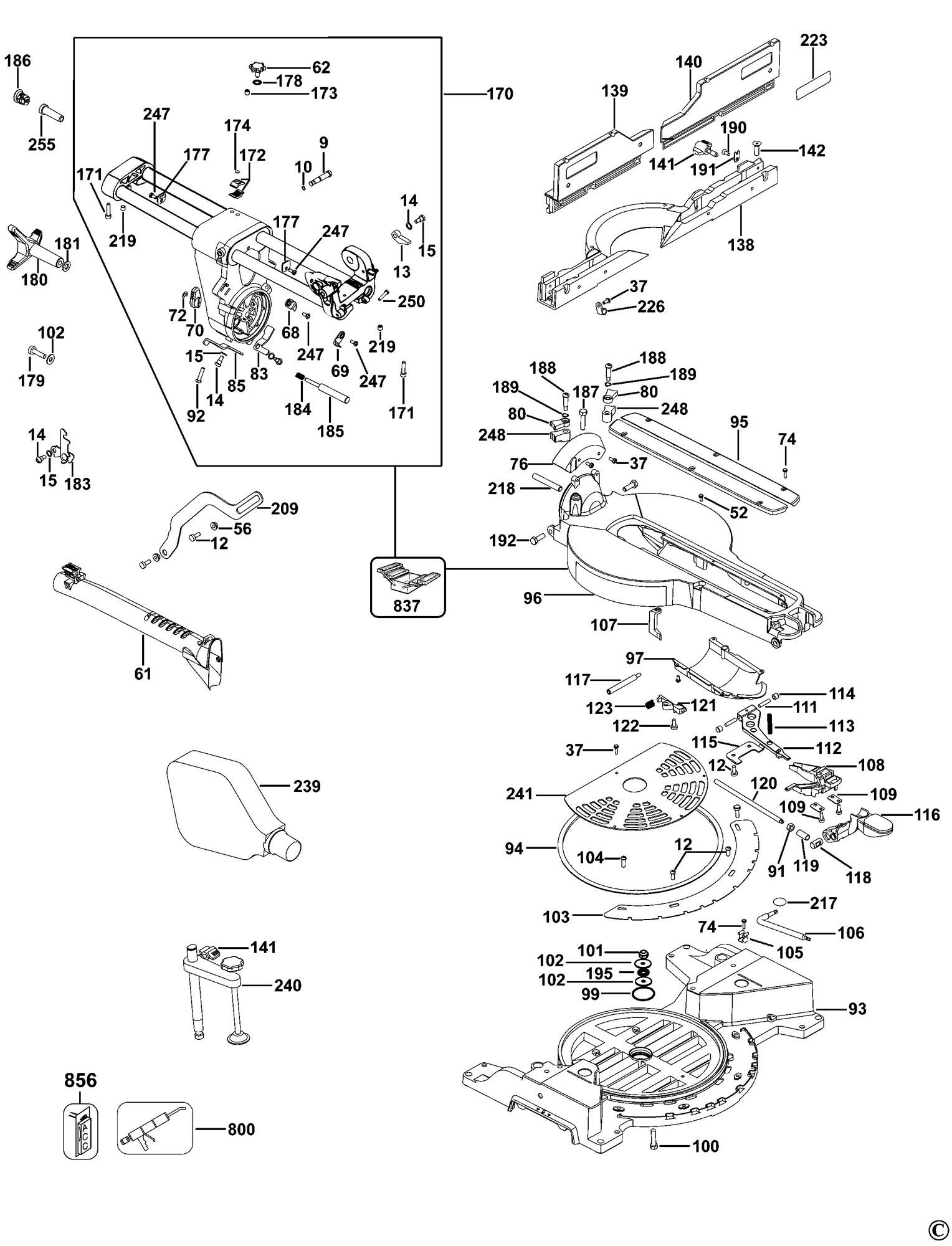 spares for dewalt dws780 mitre saw type 10 spare dws780. Black Bedroom Furniture Sets. Home Design Ideas