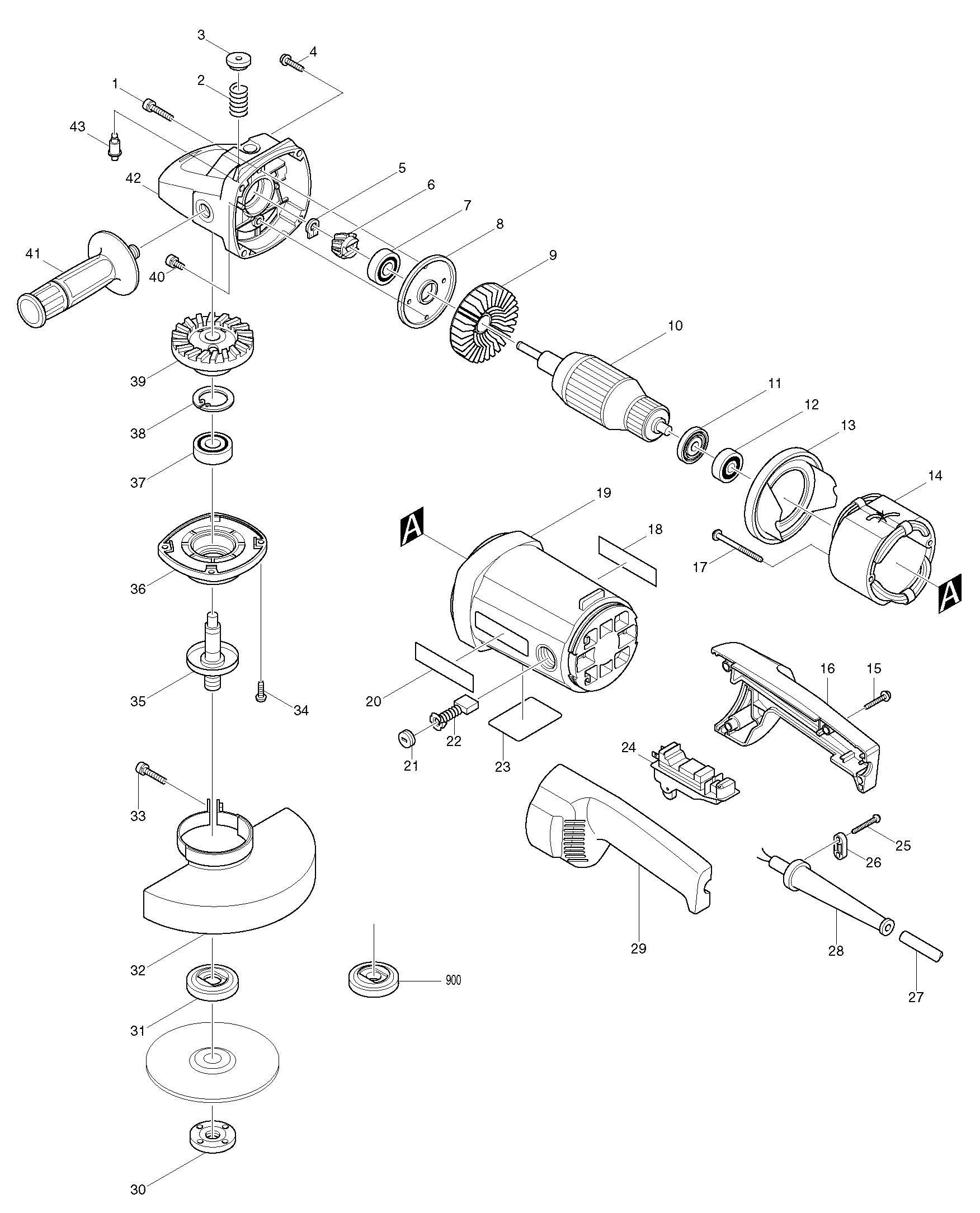 spares for makita 9069 angle grinder spare 9069 from power