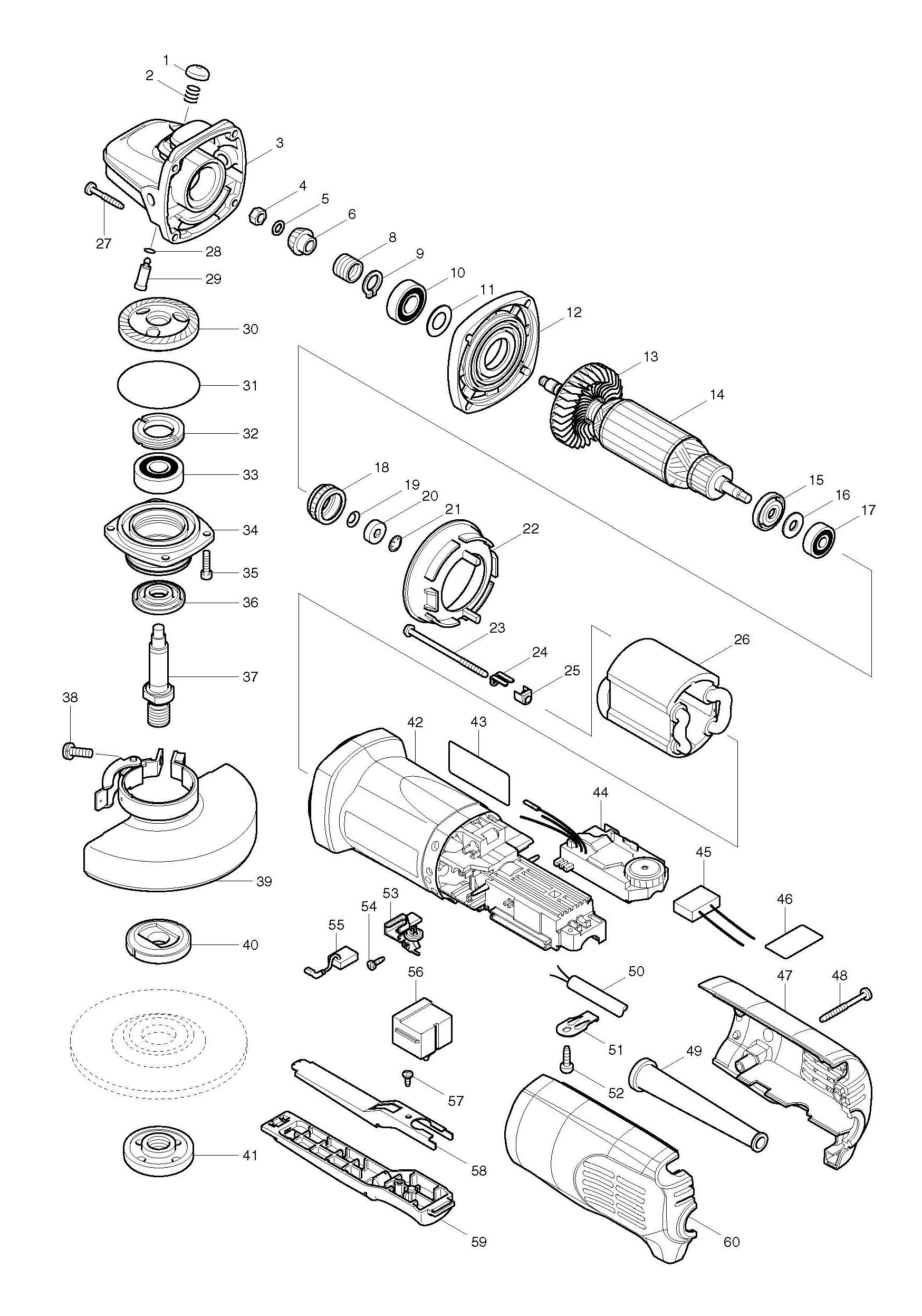 spares for makita 9564pcv 115mm angle grinder spare