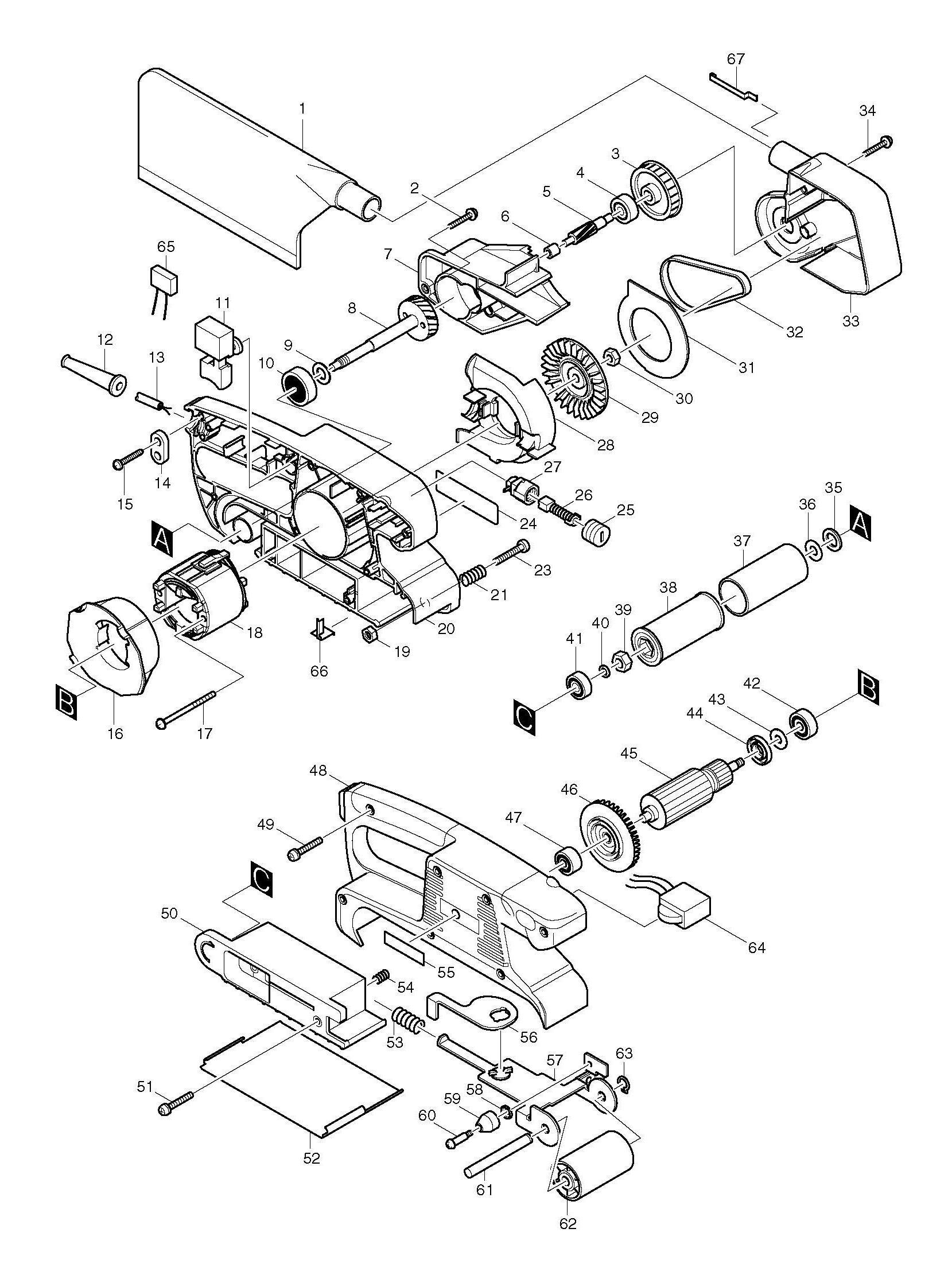 spares for makita 9911 belt sander 76x457mm spare 9911. Black Bedroom Furniture Sets. Home Design Ideas