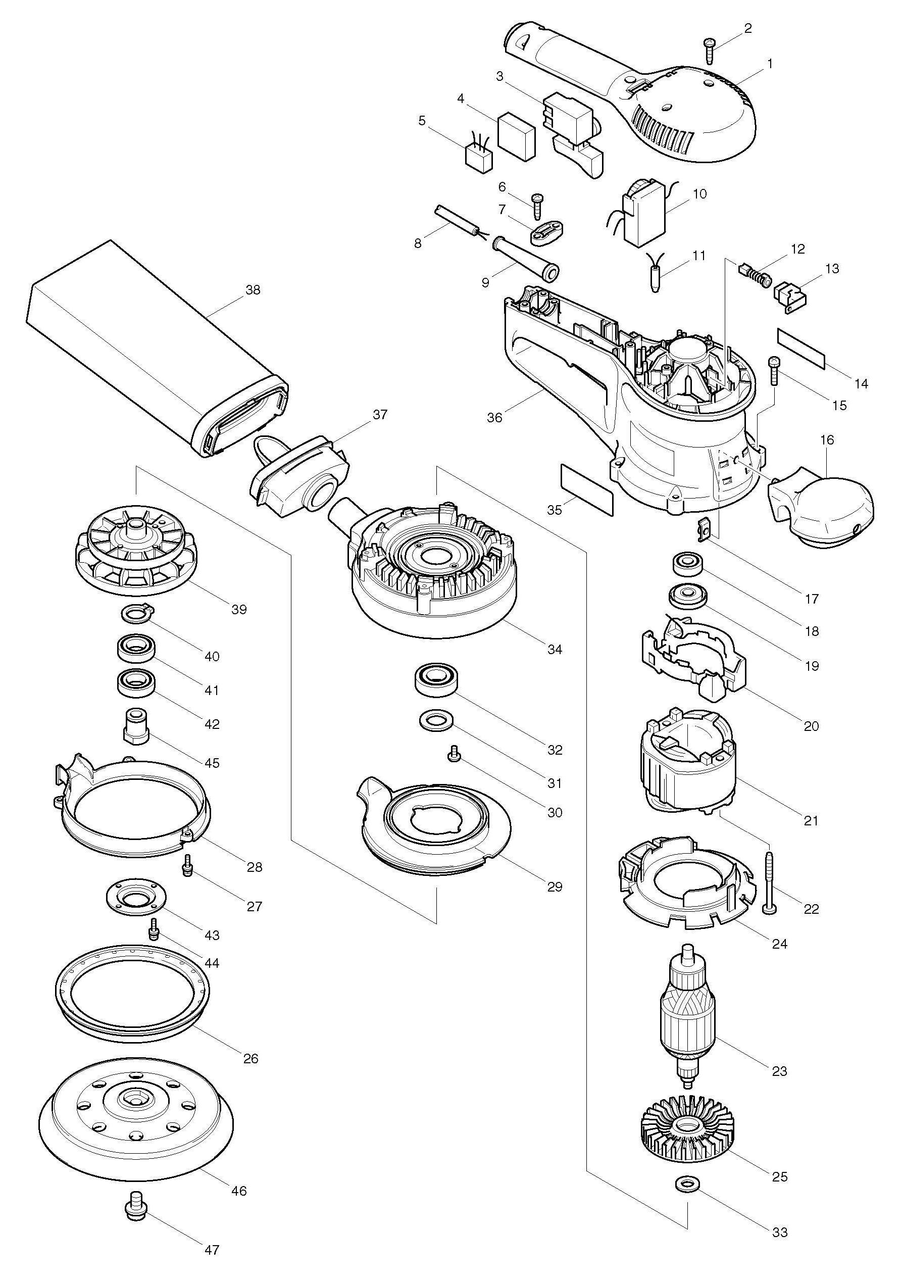 spares for makita bo6030 random orbit sander 150mm. Black Bedroom Furniture Sets. Home Design Ideas