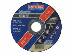 Faithfull Grinding Cut Off Disc for Metal 115 x 3.2 x 22mm
