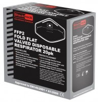 Blackrock Ffp2 Fold Flat Valved Dust Masks Respirator Pack of 20