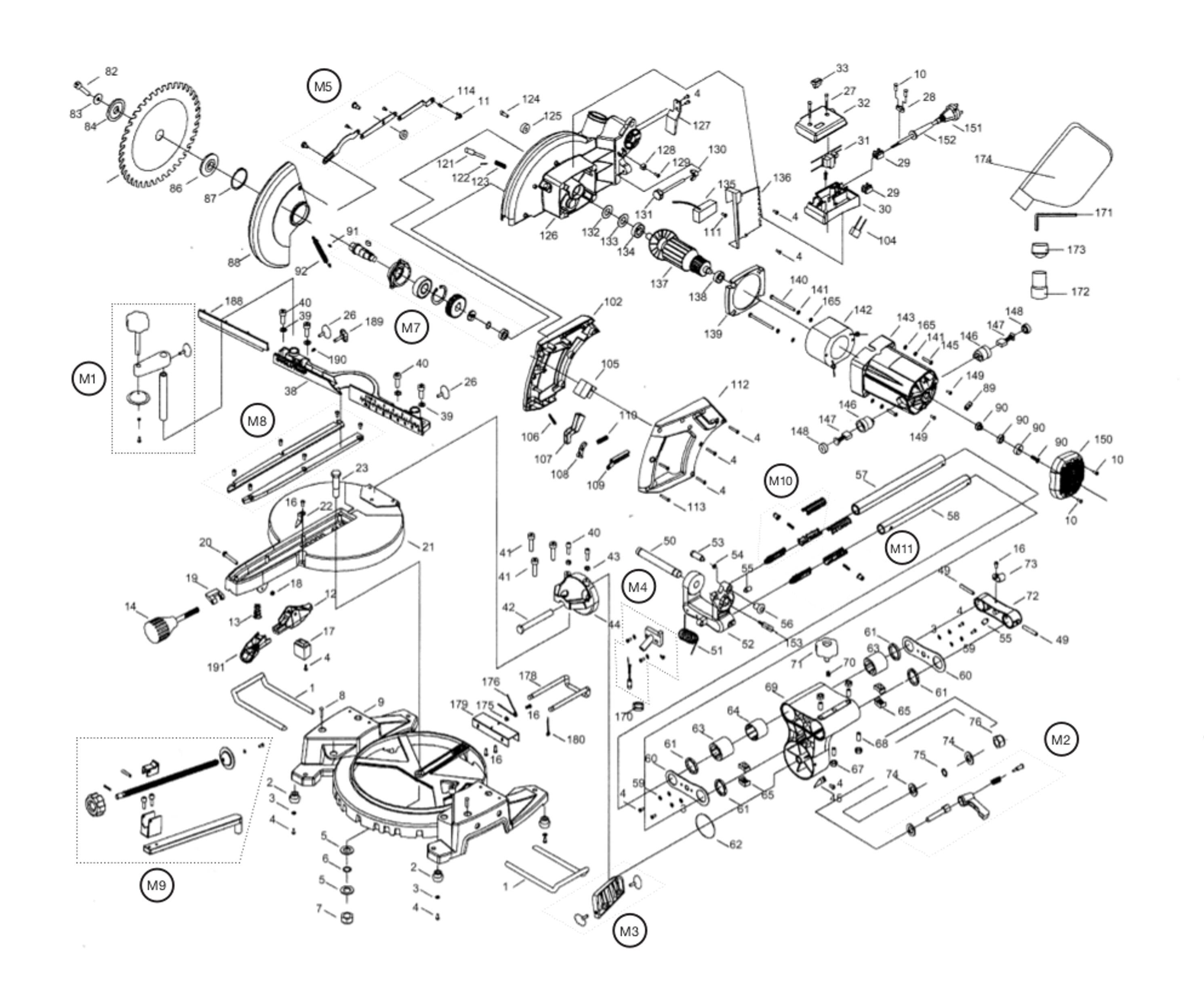 spares for evolution fury3 240v 210mm tct multupurpose