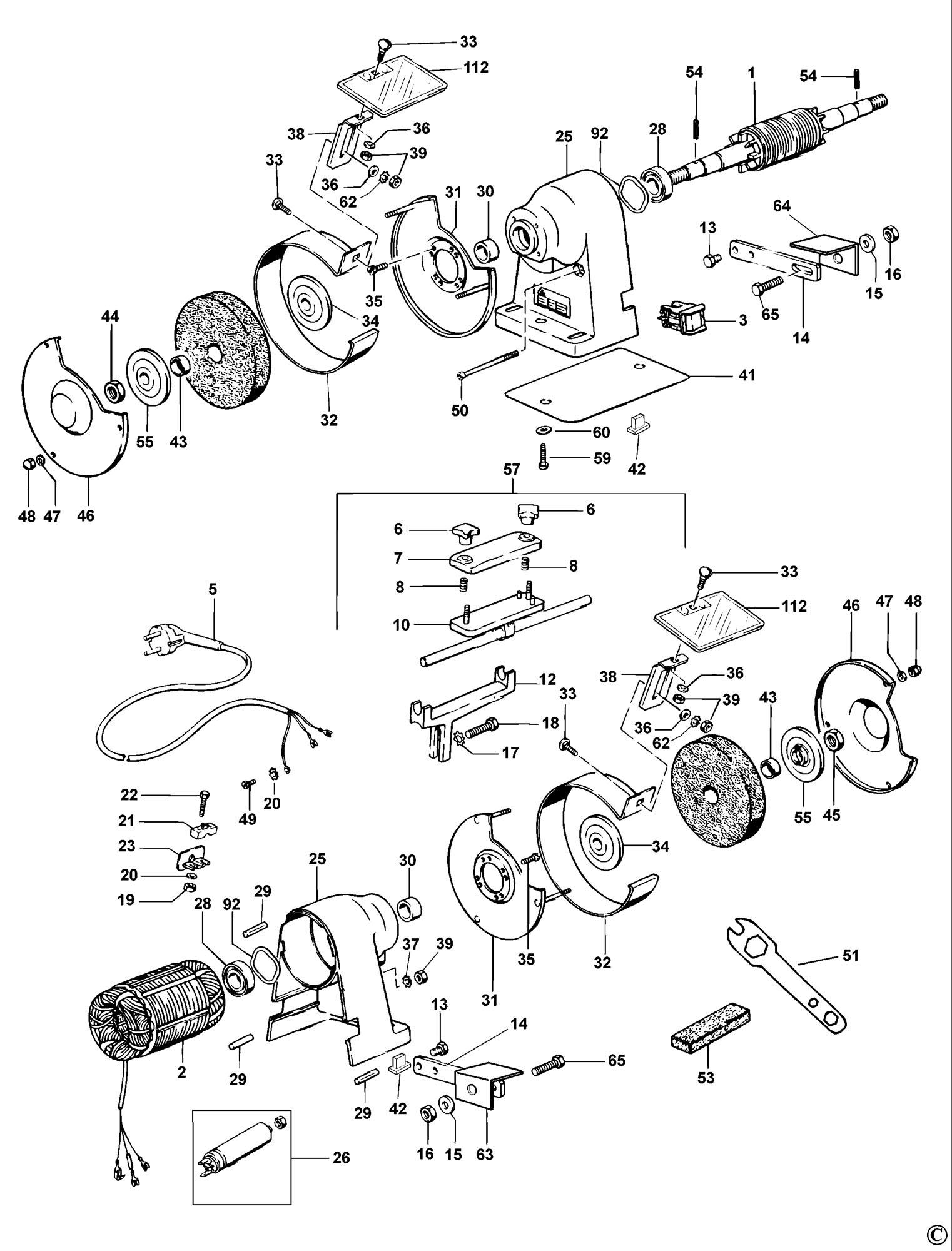 Spares For Dewalt Dw754 Bench Grinder  Type 2  Spare Dw754