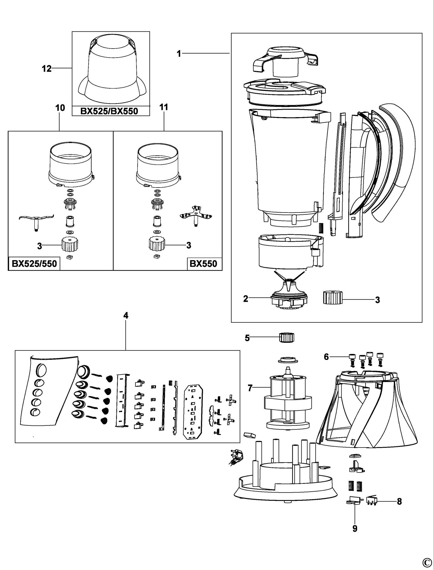 Spares for Black & Decker Bx500 Blender (type 1) SPARE_BX500