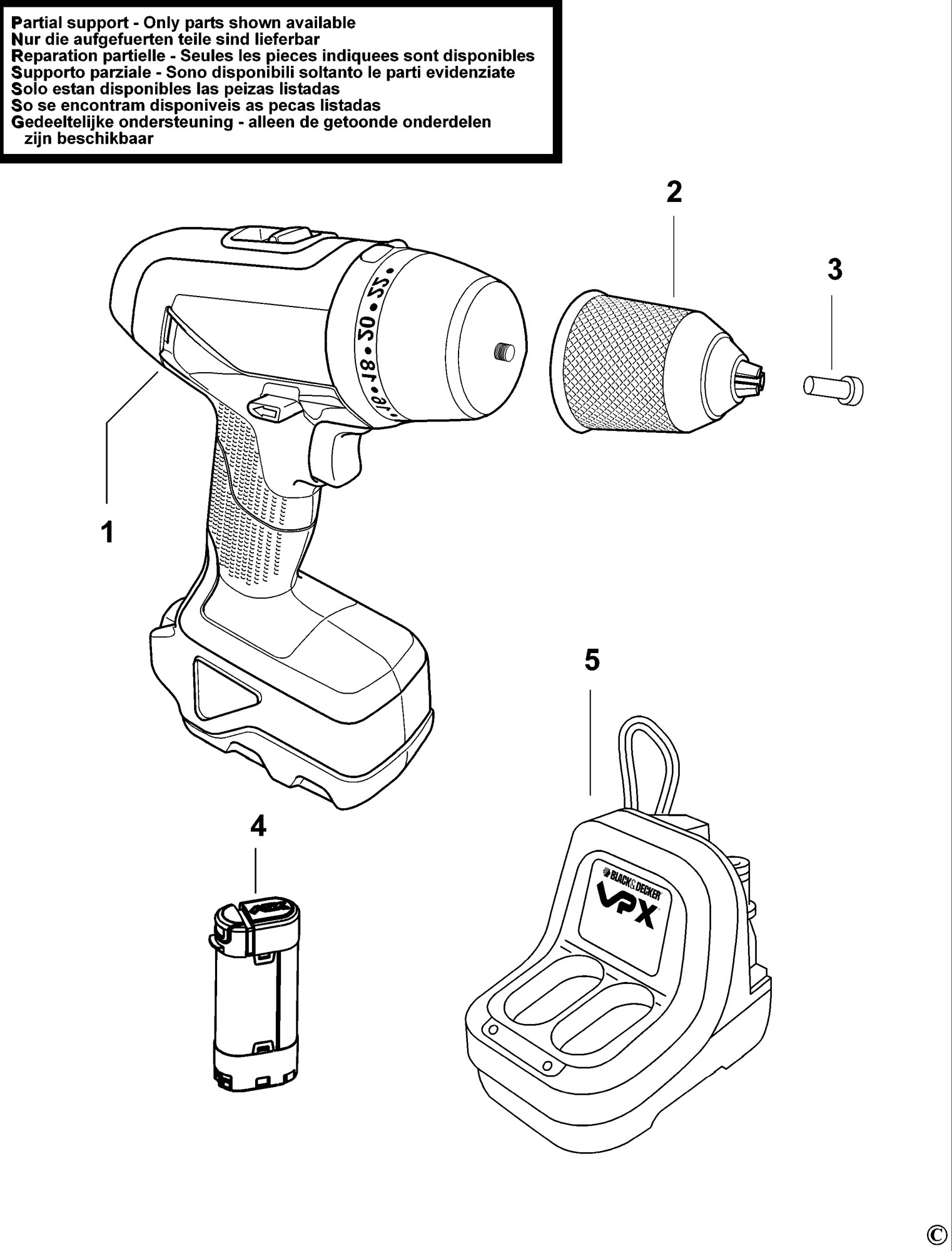 Spares for Black & Decker Vpx1222 Hammer Drill (type 1 ...