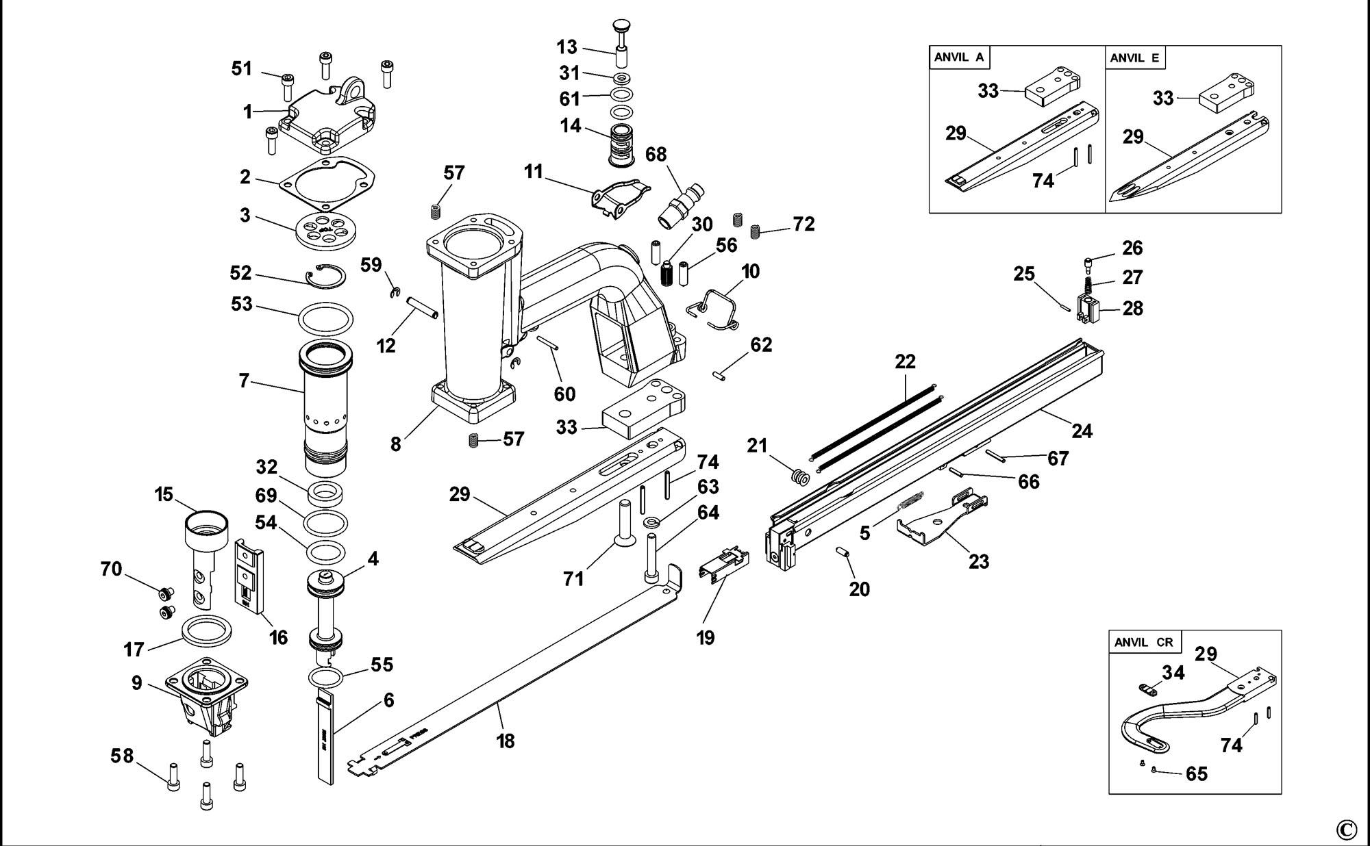 spares for bostitch p51 pneumatic plier  type reva  spare p51  type reva from power tool centre