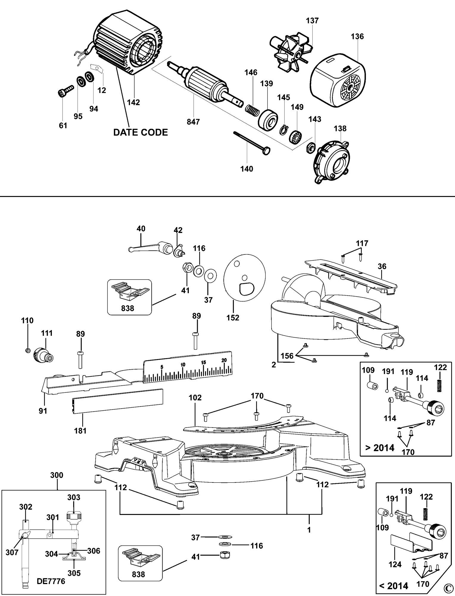 spares for dewalt dw711 mitre saw  type 7  spare dw711