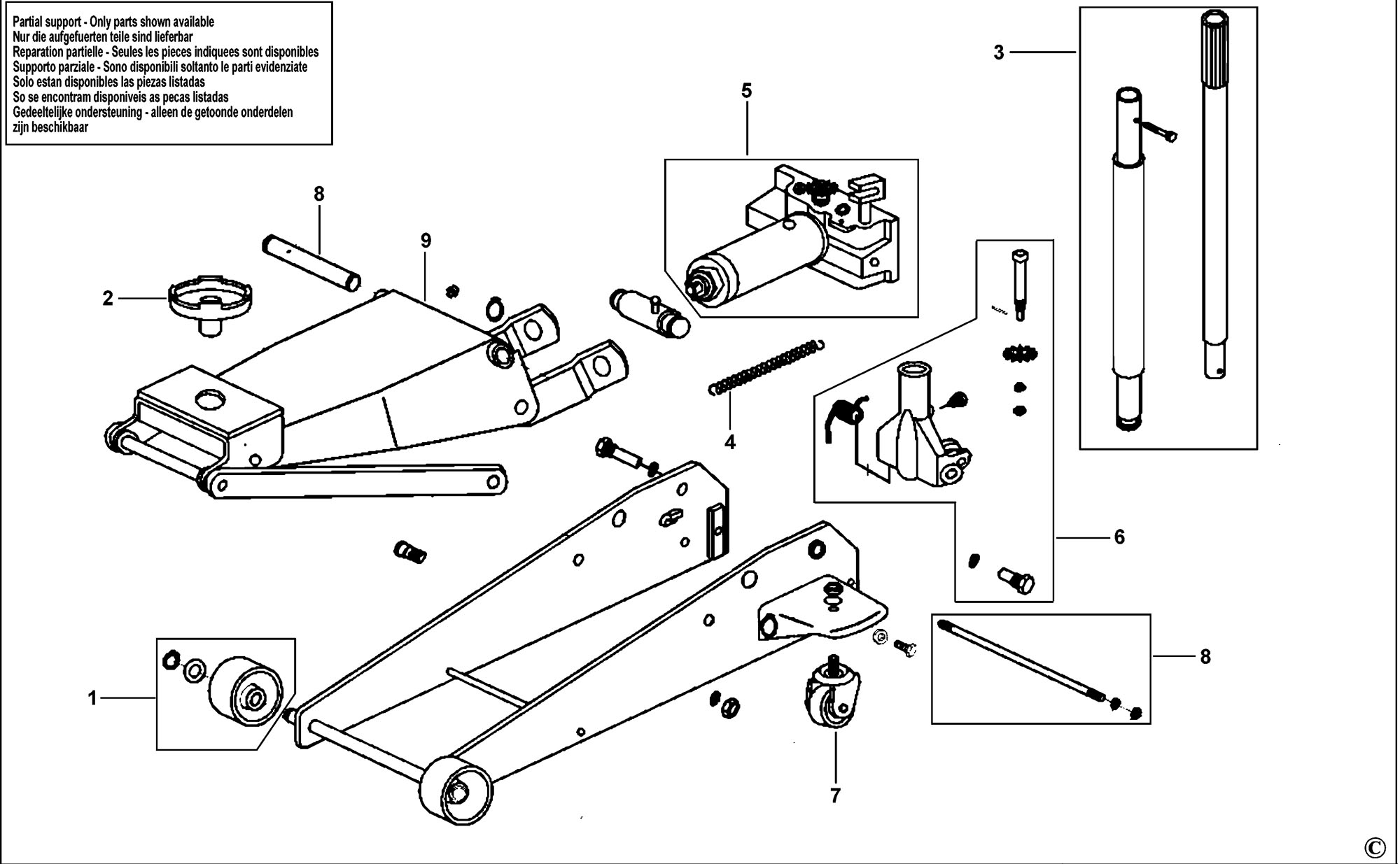 Spares For Expert E200141 Hydraulic Jack Type 1 Spare Diagram Click Bigger