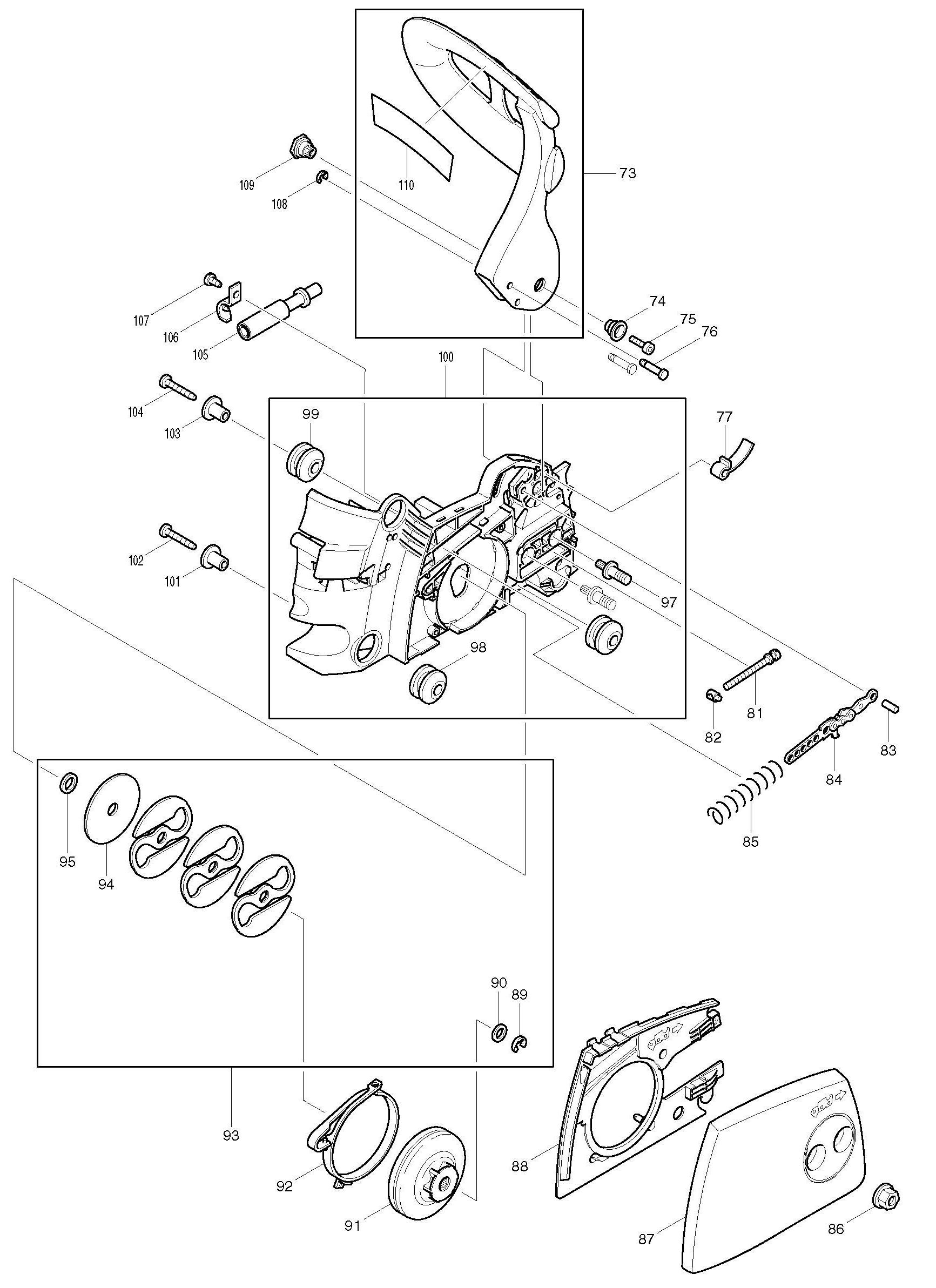 Spares For Makita Dcs34 Chain Saw Spare From Power Tool Centre Chainsaw Engine Exhaust Valve Diagram Click Bigger
