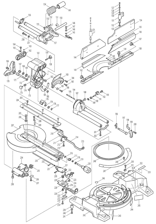 Spares for Makita Ls1216l Corded 305mm Slide Compound Mitre ... on makita ls1011, makita ls1013l parts, makita tools repair manuals,